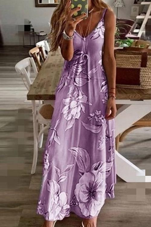 IceyChic Floral Print Slip Maxi Dress (6 Colors)-IceyChic Fashion