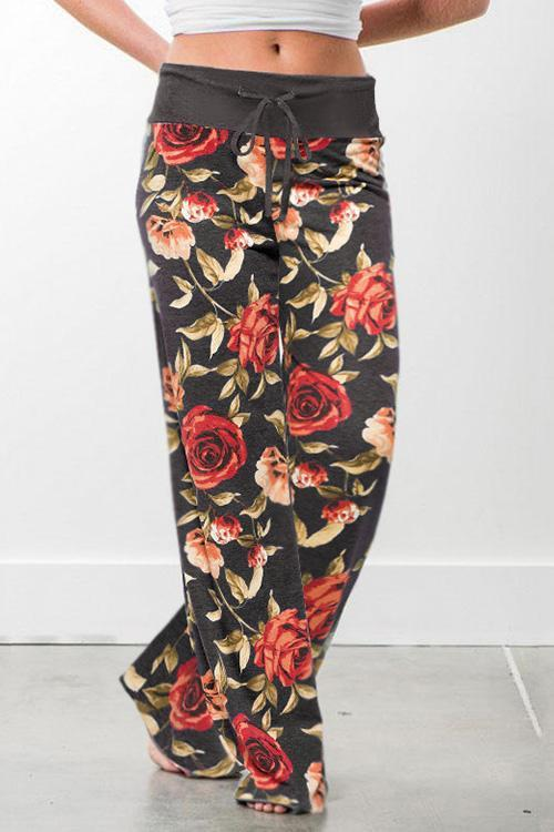 IceyChic Floral Print Wide Leg Pants (9 Colors)-IceyChic Fashion