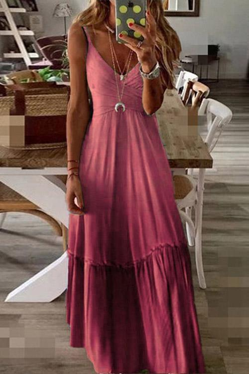 IceyChic Gradient V-Neck Slip Maxi Dress (6 Colors)-IceyChic Fashion