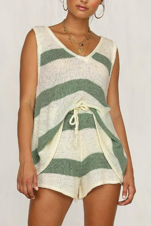 IceyChic Knit Striped Tank Top & Shorts (2 Colors)-IceyChic Fashion