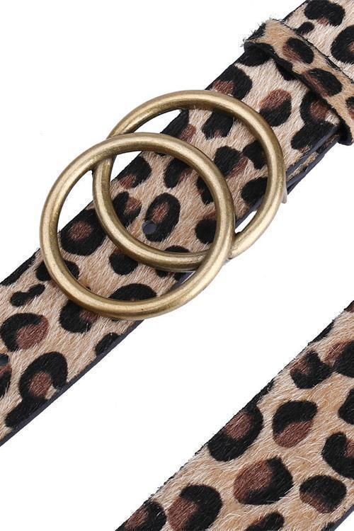 IceyChic Leopard Double Round Buckle Belt-IceyChic Fashion
