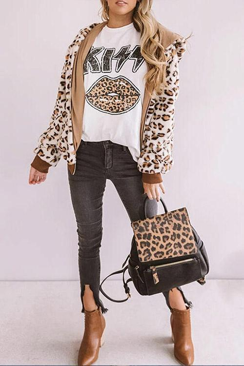 IceyChic Leopard Lip & Letter Graphic Tee (2 Colors)-IceyChic Fashion