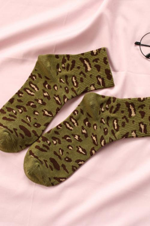 IceyChic Leopard Print Socks(5 Colors Combo)-IceyChic Fashion