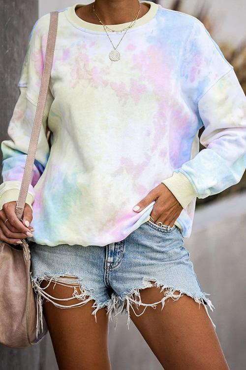 IceyChic Long Sleeve Tie Dye Crewneck Top-IceyChic Fashion