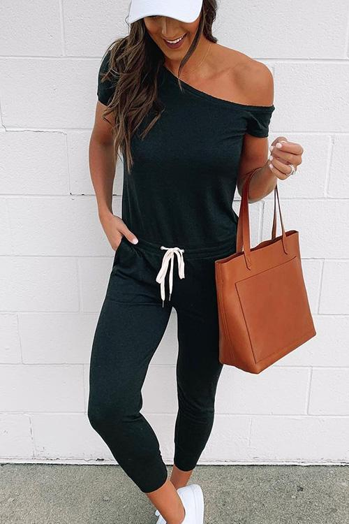 IceyChic Oblique Shoulder Pocketed Jumpsuit (4 Colors)-IceyChic Fashion
