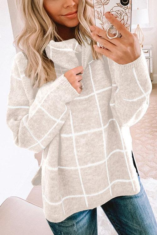 IceyChic Plaid High Neckline Knit Sweater(8 Colors)-IceyChic Fashion