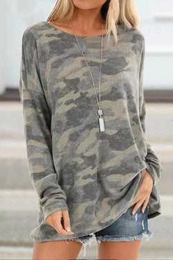 IceyChic Plus Size Camo Print Loose Top(5 Colors)-IceyChic Fashion