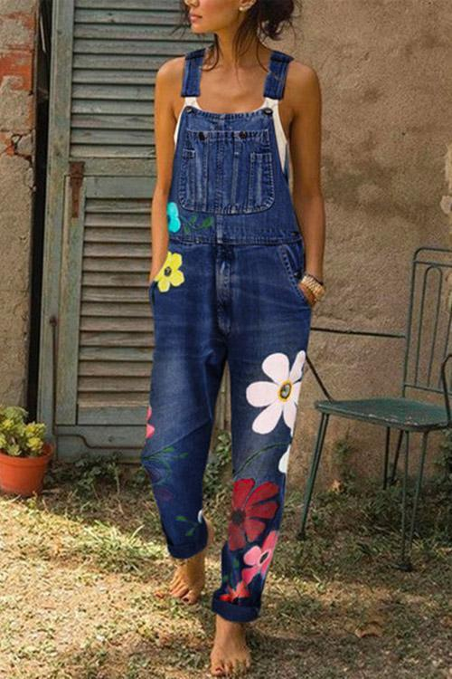 IceyChic Plus Size Floral Denim Overalls (5 Colors)-IceyChic Fashion