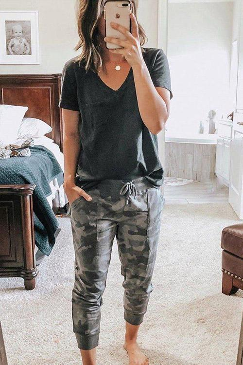 IceyChic Pocket Patch Tee & Camo Print Joggers-IceyChic Fashion