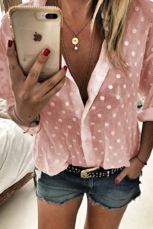 IceyChic Polka Dot Blouse (4 Colors)-IceyChic Fashion