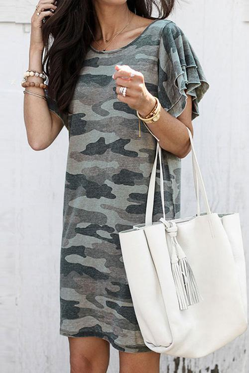 IceyChic Ruffle Cuff Camo Tee Dress-IceyChic Fashion