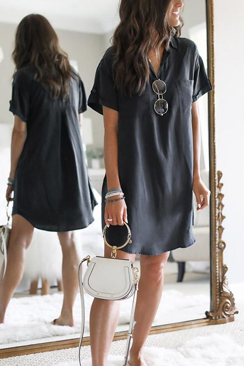 IceyChic Solid Mini Shirt Dress-IceyChic Fashion