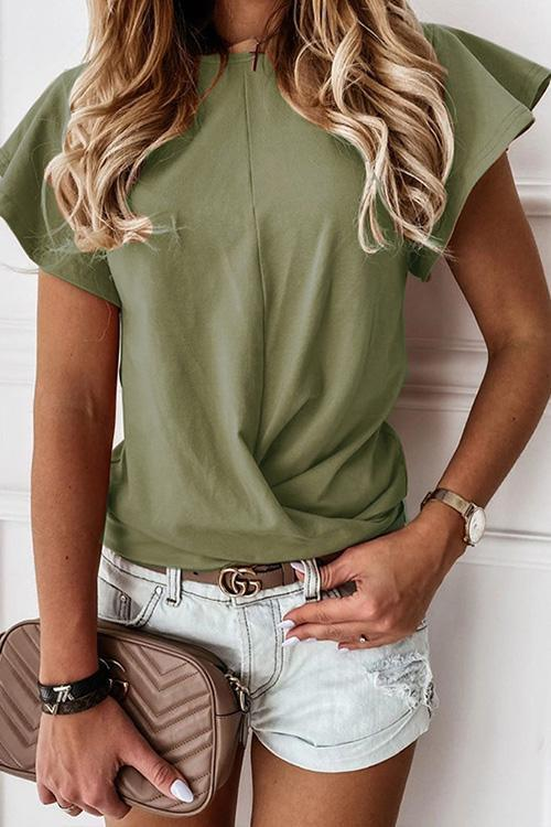 IceyChic Solid Ruffled Tee (6 Colors)-IceyChic Fashion