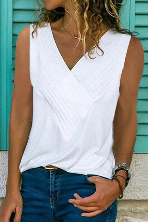 IceyChic Solid V-Neck Patchwork Tee (7 Colors)-IceyChic Fashion