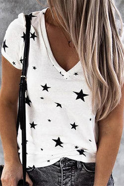 IceyChic Star Print V-Neck Tee (5 Colors)-IceyChic Fashion
