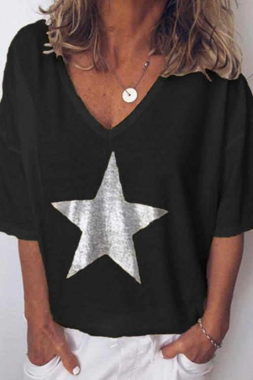 IceyChic Star V-Neck Tee (6 Colors)-IceyChic Fashion