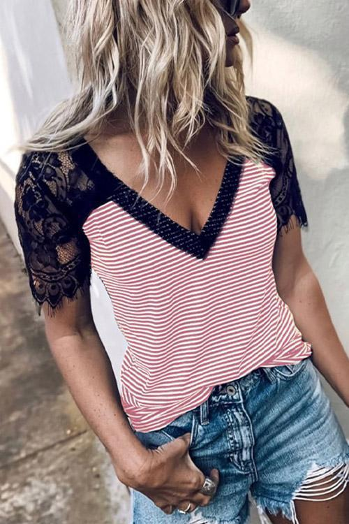 IceyChic Striped V-Neck Lace Tee (2 Colors)-IceyChic Fashion