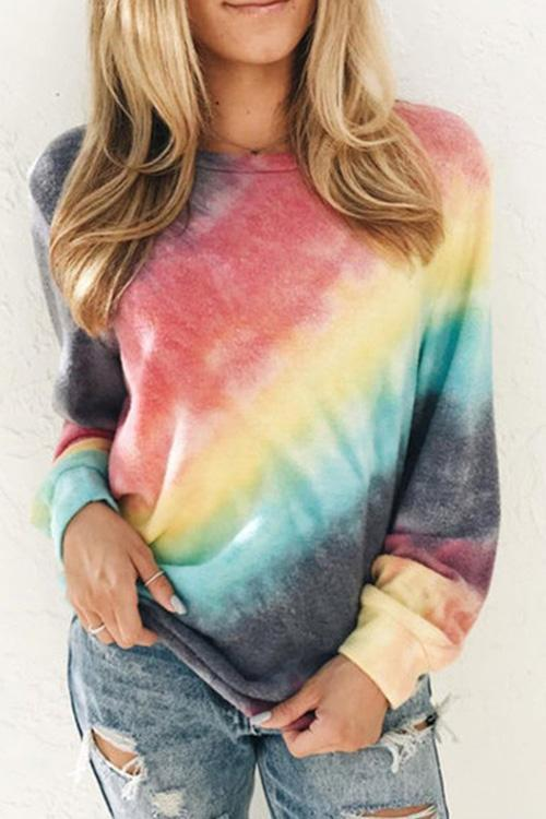 IceyChic Tie Dye Crew Neck Pullover (6 Colors)-IceyChic Fashion