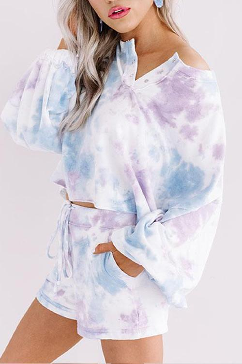 IceyChic Tie Dye Half-button Sweatsuit (3 Colors)-IceyChic Fashion