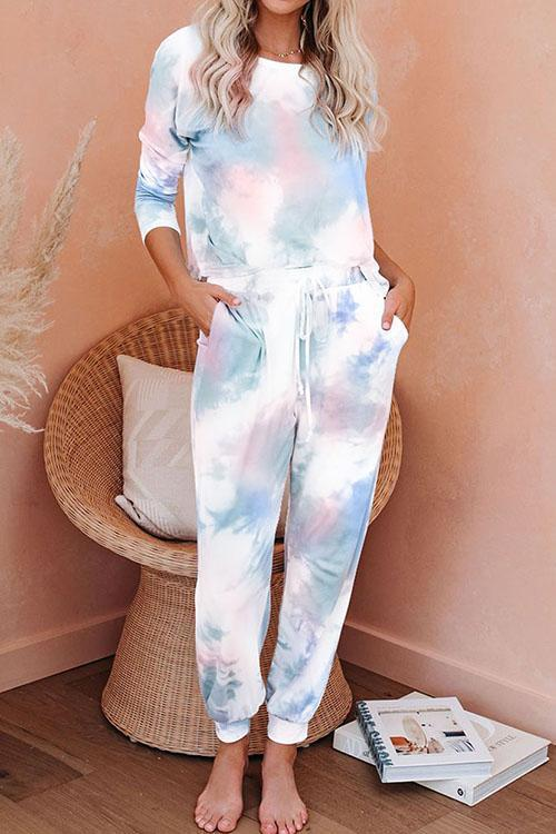 IceyChic Tie Dye Knit Long Sleeve Joggers Set-IceyChic Fashion