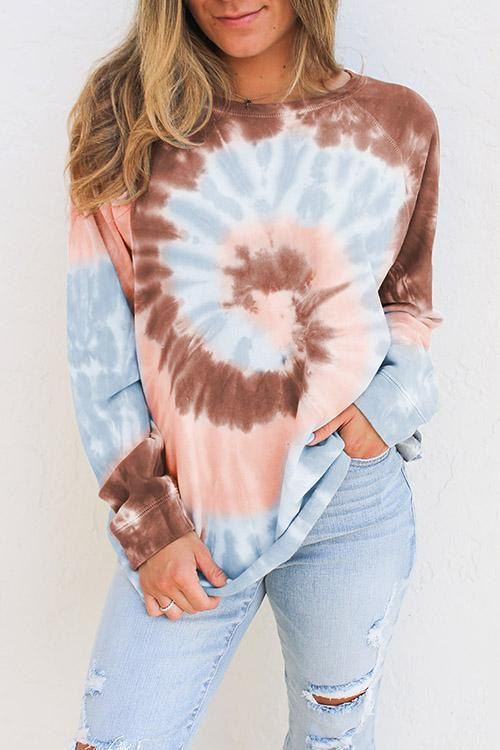 IceyChic Tie Dye Long Sleeve Sweatshirt (4 Colors)-IceyChic Fashion