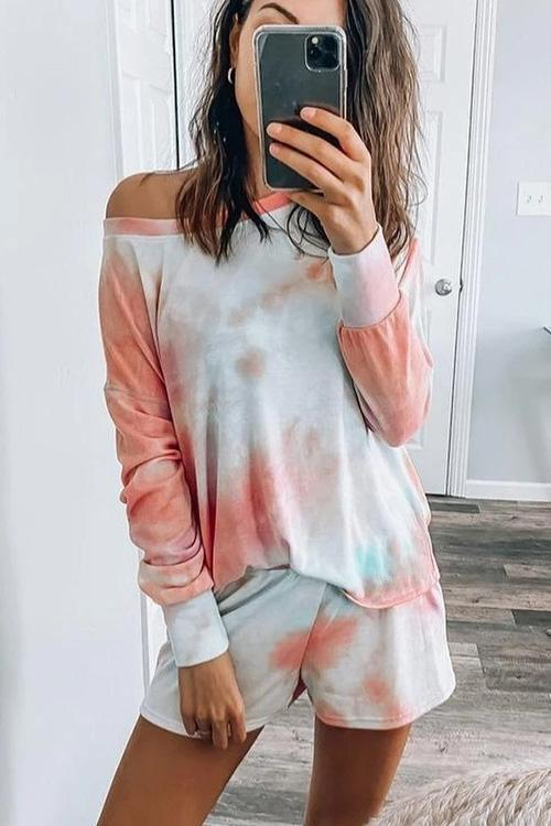 IceyChic Tie Dye Oblique Shoulder Suit-IceyChic Fashion