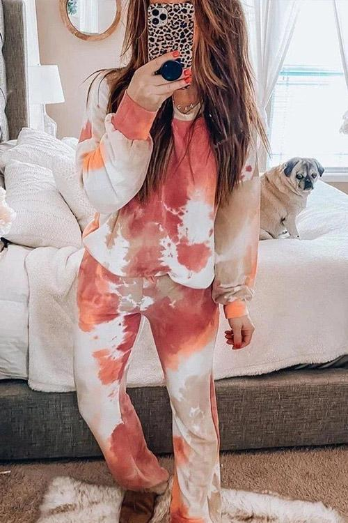 IceyChic Tie Dye Round Neck Top & Joggers-IceyChic Fashion