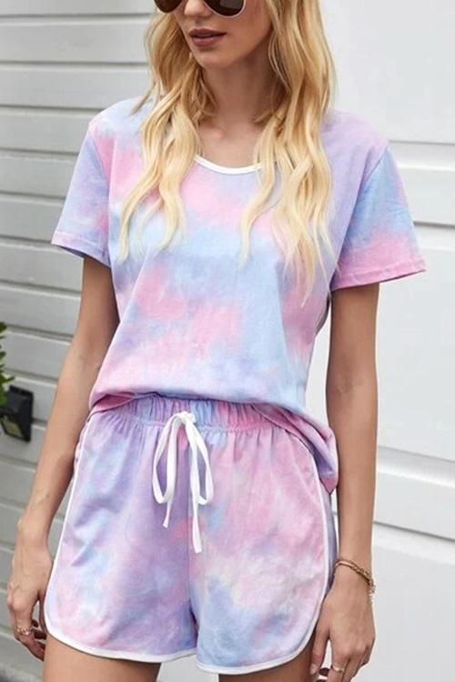 IceyChic Tie Dye Top & Drawstring Waist Shorts-IceyChic Fashion