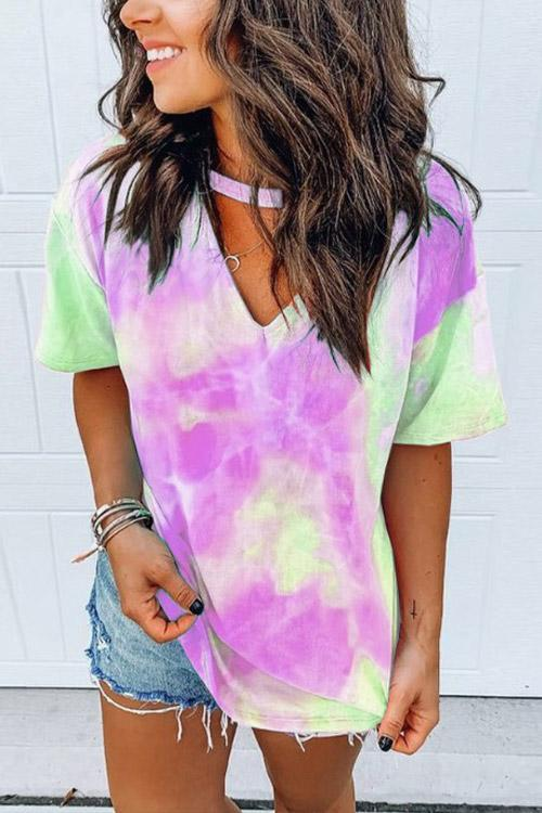 IceyChic Tie-Dye V-Neck T-Shirt (4 Colors)-IceyChic Fashion