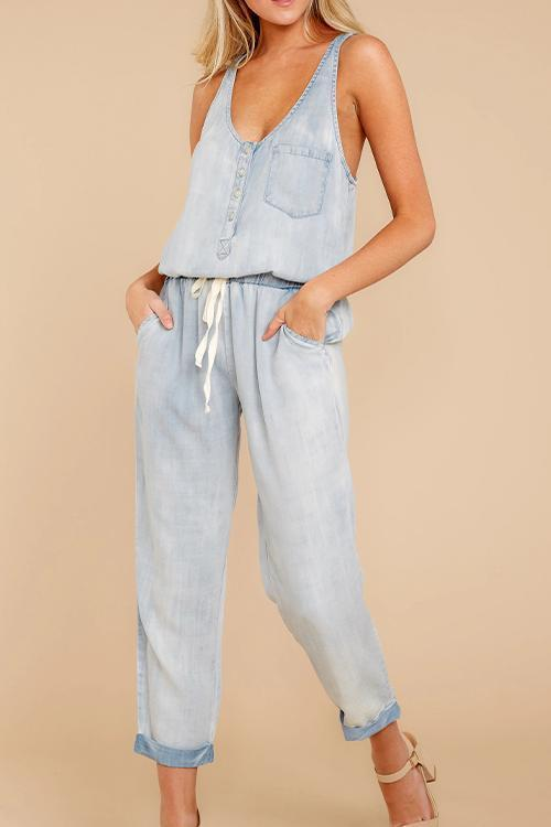 IceyChic Tie Pocketed Denim Jumpsuit (2 Colors)-IceyChic Fashion