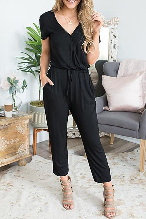 Solid Drawstring Waist V Neck Jumpsuit (5 Colors)-IceyChic Fashion