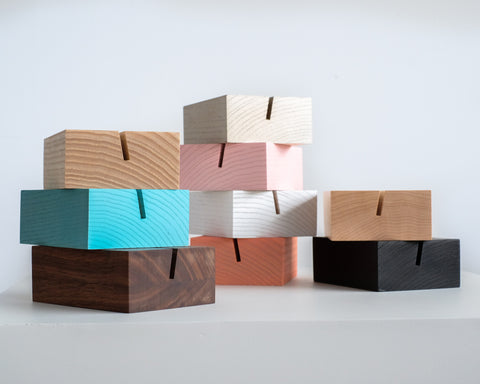 Handcrafted wood blocks for your photographs.  Available in 9 colors.