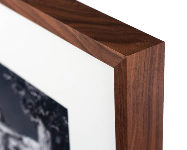 Close-up of Heirloom Collection frame in Walnut