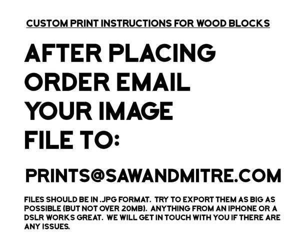 After ordering email image files to prints@sawandmitre.com..