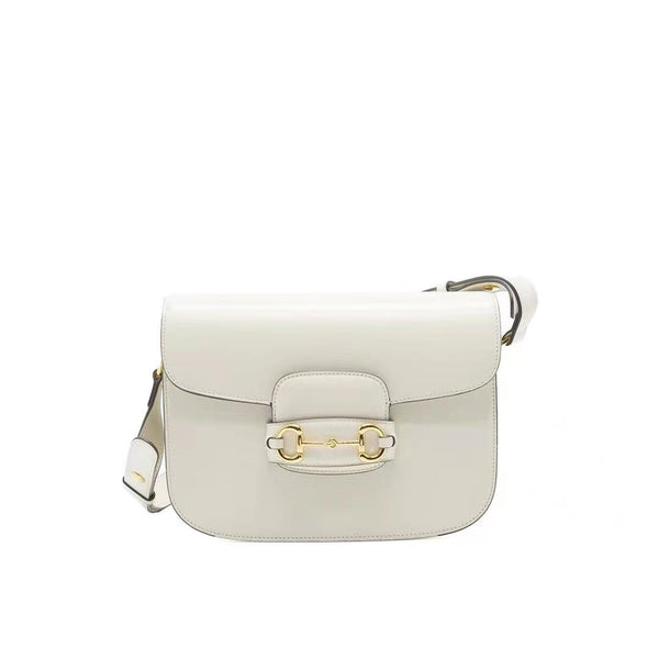 GUCCI 1955 HORSEBIT LEATHER SHOULDER BAG WHITE