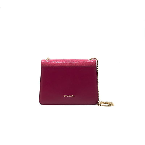 Bvlgari Serpenti Carmine Jasper Galuchat Skin and Calf leather Forever Crossbody Bag - EMIER