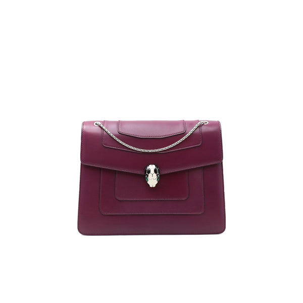 Bvlgari Plum Leather Medium Serpenti Forever Flap Shoulder Bag - EMIER