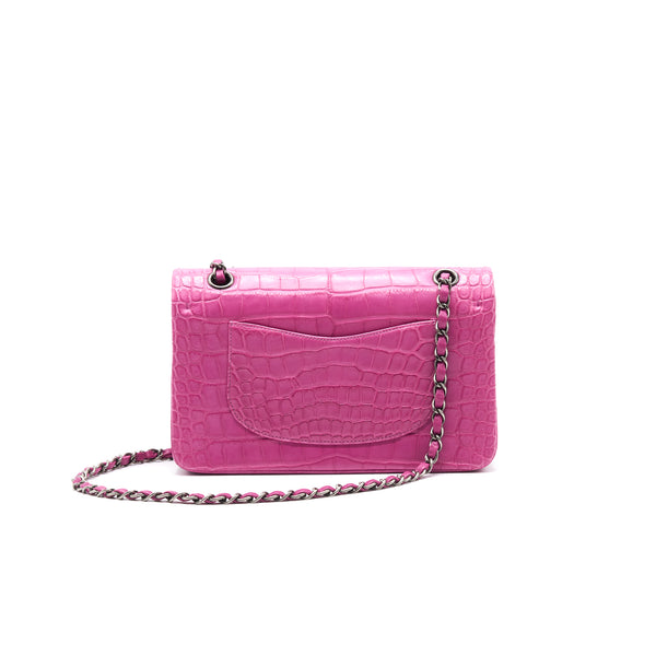 Chanel Alligator Medium Classic Double Flap Bag Pink SHW