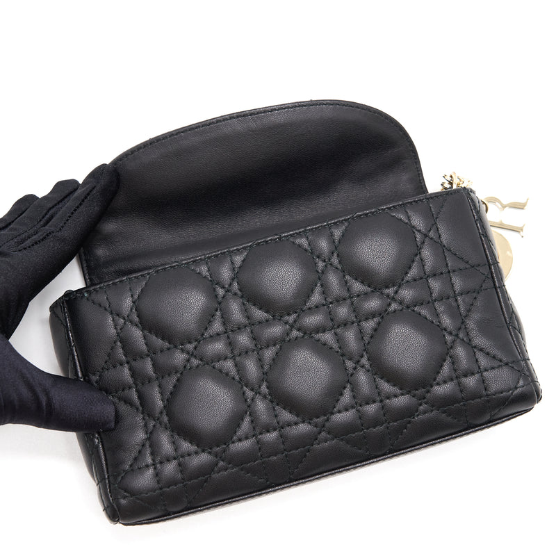 Dior Leather Mini crossbody Chain Bag Black GHW