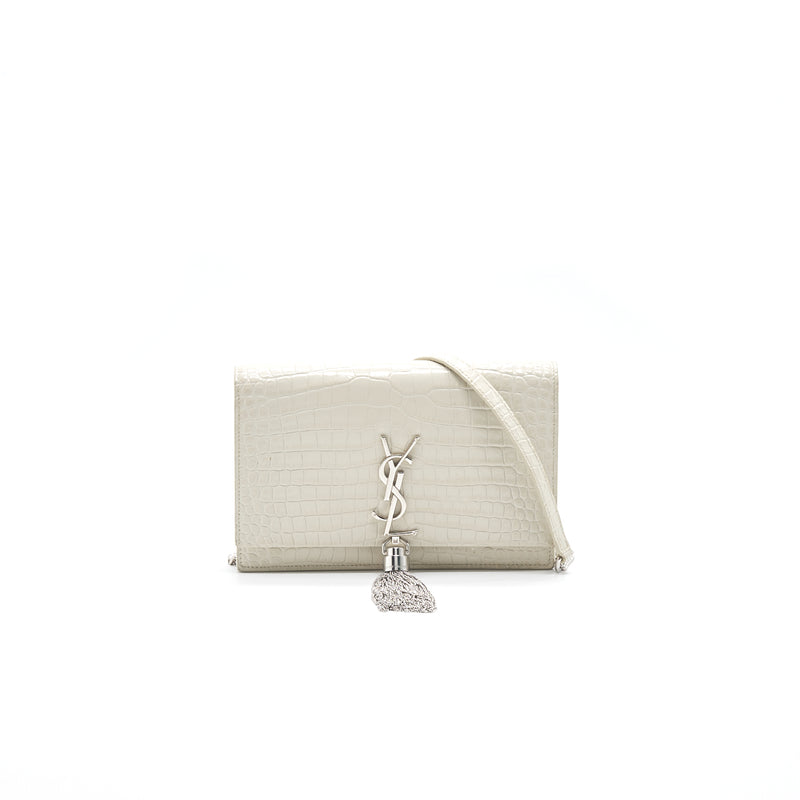 Saint Laurent /YSL Kate small chain wallet with tassel in crocodile-embossed shiny skin