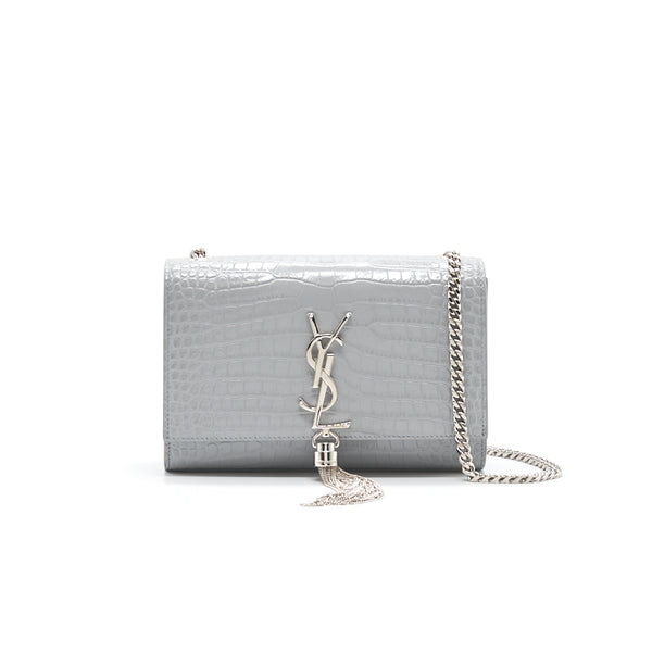 Saint Laurent Kate Small With Tassel Grey SHW