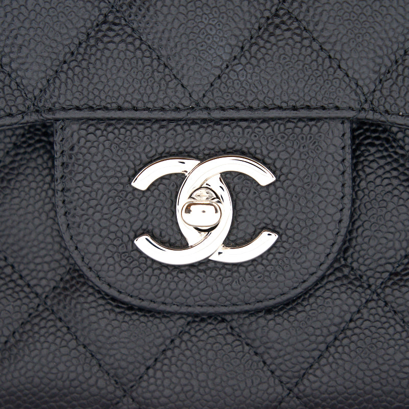 Chanel Jumbo Size Double Flap Caviar with Silver Hardware