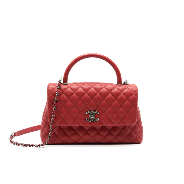 CHANEL COCO HANDLE SMALL FLAP BAG RED CALFSKIN RSHW
