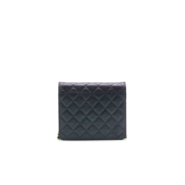 Chanel Classic Square Wallet on Chain Caviar Iridescent Purple LGHW