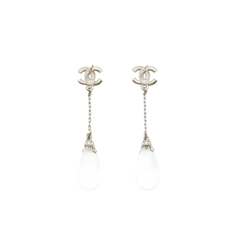 Chanel cc and white Crystal Earrings