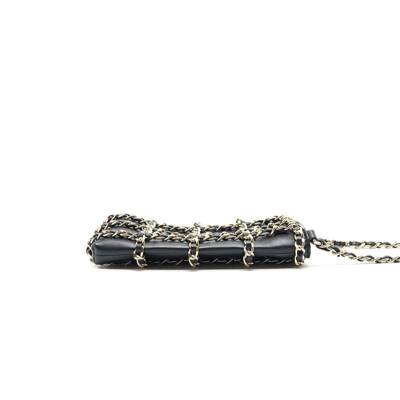 Chanel Gold Clutch O Chain Phone Holder black GHW
