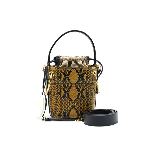 CHLOE ROY MINI BUCKET BAG SNAKE PATTERN LEATHER