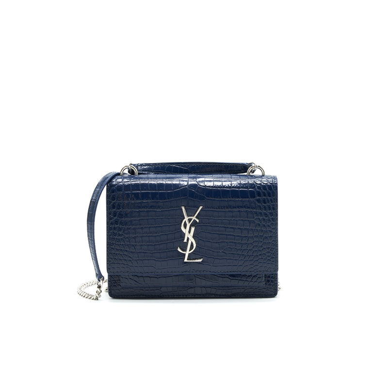 Saint Laurent Sunset Chain Wallet Navy SHW