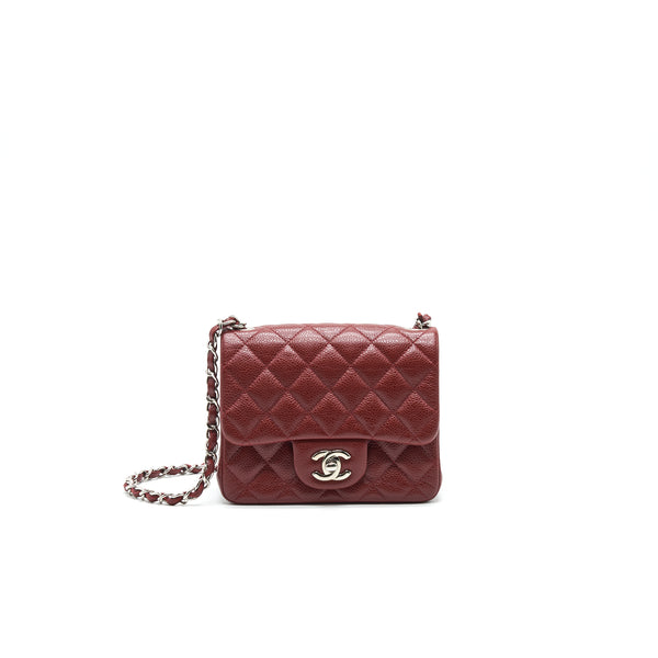 CHANEL MINI SQUARE CARVIAR RED SHW