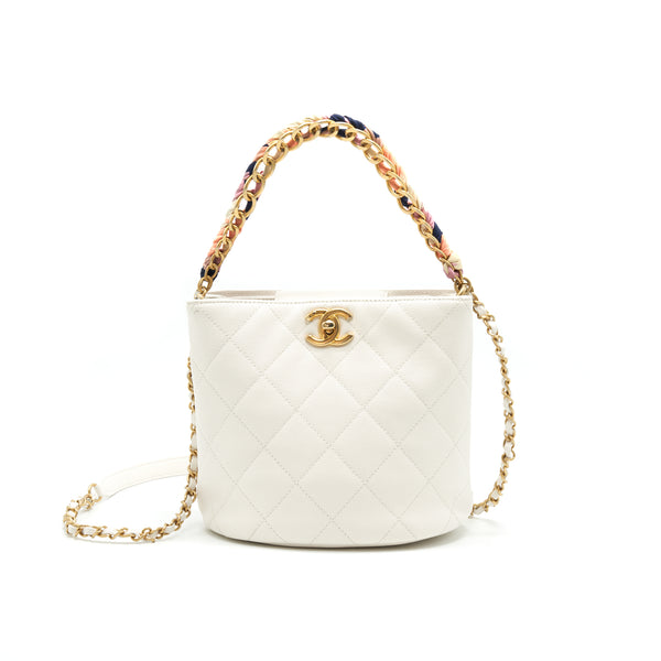 Chanel Bucket Bag With Chain Handle Caviar White GHW